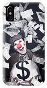 Crazy Clown Excited To Hold A Bag Of Money IPhone Case