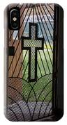 Cross On Church Door Open To Prison Yard Fence With Razor Wire IPhone Case