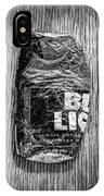 Crushed Blue Beer Can On Plywood 78 In Bw IPhone Case