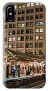 Cta Pulls Into The State-lake Street Station Chicago Illinois IPhone Case