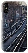 Cta Train Approaching Damen Avenue Station Chicago Illinois IPhone Case