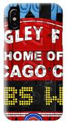 Cubs Win Wrigley Field Chicago Illinois Recycled Vintage License Plate Baseball Team Art IPhone Case