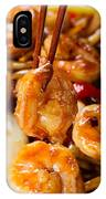 Curry Shrimp And Peppers On White Serving Plate Ready To Eat IPhone Case