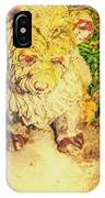 Cute Weathered White Garden Ornament Of A Dog IPhone Case