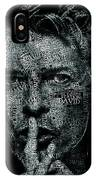 David Bowie Text Portrait - Typographic Poster With Album Titles And Background With Songs Names IPhone Case