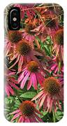 Deep Pink Echinacea Straw Flowers Green Leaf And Grass Background 2 9132017 IPhone Case