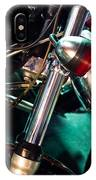 Detail Of Chrome Headlamp On Vintage Style Motorcycle IPhone Case