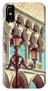 Detail Of Lamp And Columns In Venice. Vertically.  IPhone Case