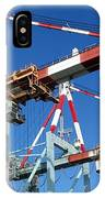 Detail View Of Container Loading Cranes IPhone Case