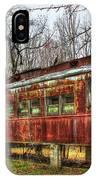 Devastation Railroad Passenger Train Car Fire Art IPhone Case