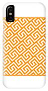 Diagonal Greek Key With Border In Tangerine IPhone Case