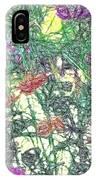 Digital Pencil Sketch Flowers IPhone Case