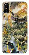 Dinosaurs And Volcanoes IPhone Case
