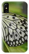 Distinctive Side Profile Of A White Tree Nymph Butterfly IPhone Case