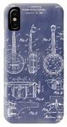 Dixie Banjolele Patent 1954 In Grunge Blue IPhone Case
