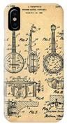Dixie Banjolele Patent 1954 In Sepia IPhone Case