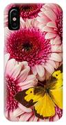 Dog Face Butterfly On Pink Mums IPhone Case