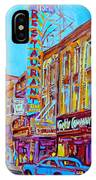 Downtown Montreal Street Rue Ste Catherine Vintage City Street With Shops And Stores Carole Spandau  IPhone Case