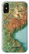 Dpr Korea 3d Render Topographic Map Border IPhone Case