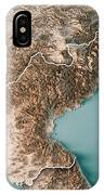 Dpr Korea 3d Render Topographic Map Neutral Border IPhone Case