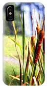 Dragon Fly And Cattails In Watercolor IPhone Case