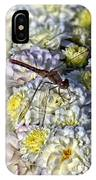 Dragonfly On White Mums IPhone Case