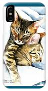 Dreamland - Bengal And Savannah Cat Painting IPhone Case
