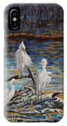 Yellow Billed Egrets On Driftwood IPhone Case