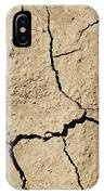 Dry Cracked Earth And Green Leaf IPhone Case