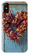 Dry Flower Wreath On Blue Door IPhone Case