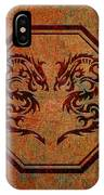 Dueling Dragons In An Octagon Frame With Chinese Dragon Characters Yellow Tint  IPhone Case