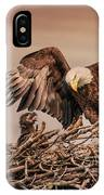Bald Eagle And Eaglet In Nest IPhone Case
