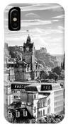 Edinburgh From Calton Hill.    Black And White IPhone Case