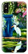 Egret Visits Goldfish Pond IPhone Case