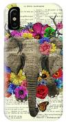 Elephant With Colorful Flowers Illustration IPhone Case