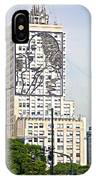 Eva Peron Outlined On The Wall Of A Skyscraper On July Nine Avenue  In Buenos Aires-argentina IPhone Case