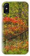Fall Sumac Trees With Red Leaves In A Michigan Forest During Autumn IPhone Case