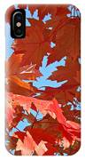 Fall Tree Leaves Red Orange Autumn Leaves Blue Sky IPhone Case