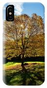 Fall Tree Silhouette Kent Falls State Park Connecticut IPhone Case