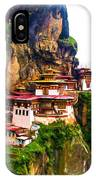 Famous Tigers Nest Monastery Of Bhutan 11 IPhone Case