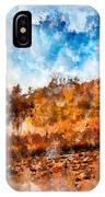 Farm Fall Colors Watercolor IPhone Case by Michael Colgate