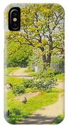 Farm Scene With Pecking Chickens IPhone Case