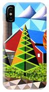 Farm With Three Pines And Cow IPhone Case