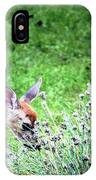 Fawn Visits Flowers IPhone Case