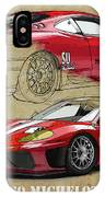 Ferrari 360 Michelotto Le Mans Race Car. Two Drawings One Print IPhone Case