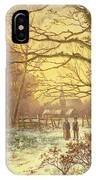 Figures On A Path Before A Village In Winter IPhone Case