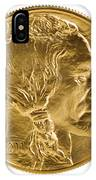Fine Gold Buffalo Coin On White Background  IPhone Case