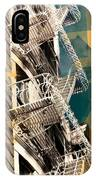Fire Escapes In White And Gold IPhone Case