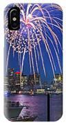 Fireworks Over The Boston Skyline Boston Harbor Illumination Streaming Down IPhone Case