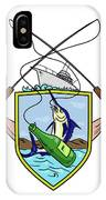 Fishing Rod Reel Blue Marlin Beer Bottle Coat Of Arms Drawing IPhone Case